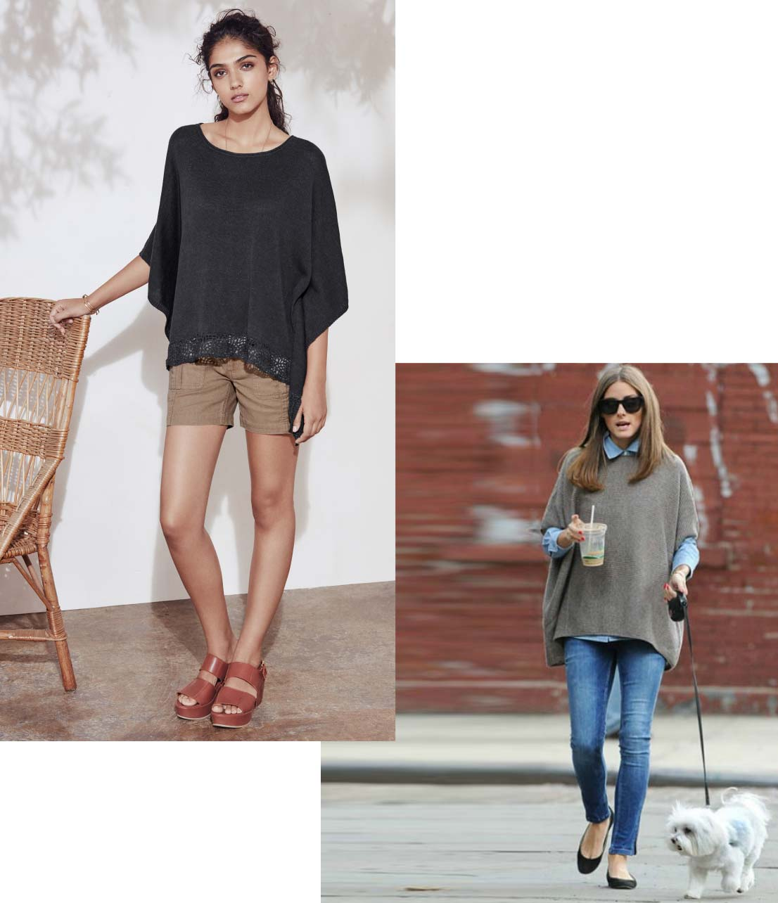 Solene knitted cape