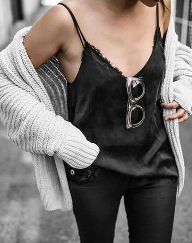 Get the Look: Chunky Knit & Silk Cami